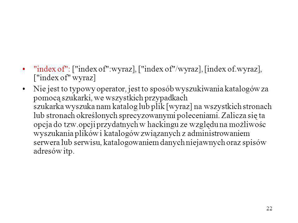 index of : [ index of :wyraz], [ index of /wyraz], [index of